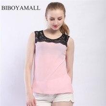 BIBOYAMALL Женщины Блузки Лето 2017 Sexy Ladies блузка Цветок кружева Топы Шифон рубашка Элегантных Женщин рубашка Плюс размер 5XL Розовый