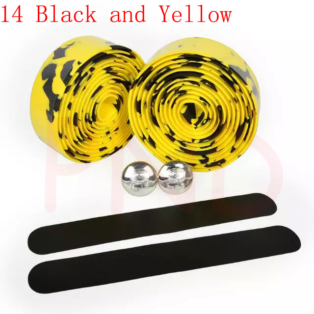 Лента на руль для шоссейного велосипеда камуфляжная велосипедная ручка на ремне пробковая обмотка с заглушками 17 цветов FZE001 - Цвет: 14 Black and Yellow