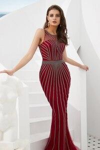 Image 4 - Suknie wieczorowe formalne 2020 suknie na bal maturalny wino czerwone/złote syrenka długa, bez rękawów Crystal Luxury Trail Ladies sukienek eleganckie