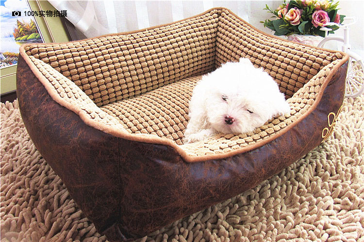 big size extra large waterproof pu leather dog bed house sofa kennel washable soft fleece corn