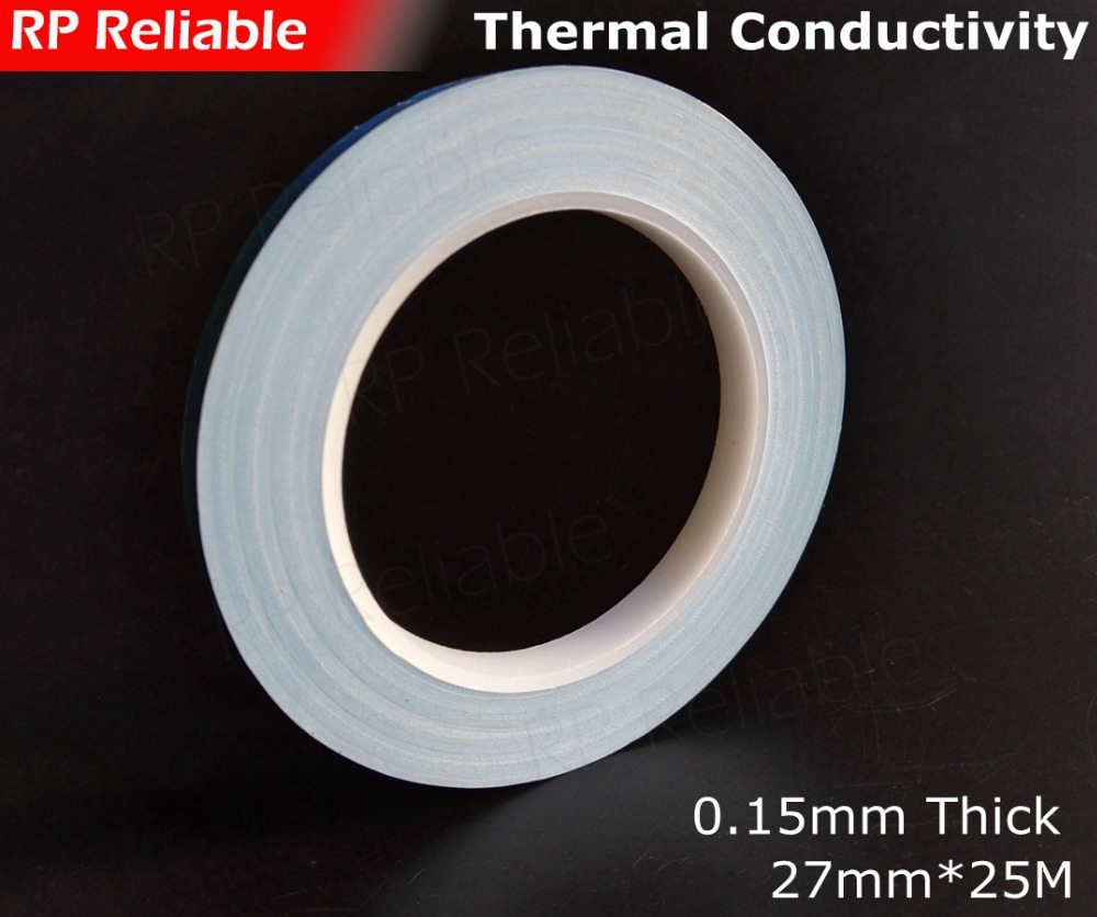 1X 27mm *25M *0.15mm Double Sided Adhesive Thermal Tape Conductive for DC/CD soft Panel LED Light Panel,  Chip, Transistor1X 27mm *25M *0.15mm Double Sided Adhesive Thermal Tape Conductive for DC/CD soft Panel LED Light Panel,  Chip, Transistor