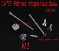 DIN7991 Stainless Steel A2 M3*L Flat head Hexagon Hex Socket Screws countersunk Cap Screw Length 4mm 40mm