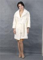 white mink coat fur,2019 new style fashinal,real fur,turn down collar,3/4 sleeve natural mink coat fur