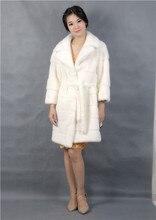 white mink coat fur,2016 new style fashinal,real fur,turn-down collar,3/4 sleeve natural mink coat fur