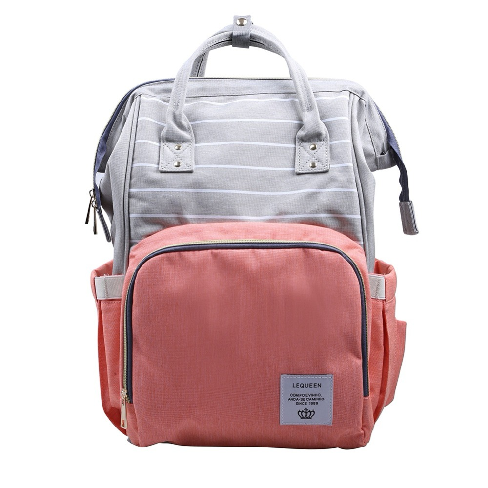 New Upgrade Stripes New Shoulder Top Multifunctional Backpack Maternity Large Capacity Baby Waterproof Out package Orange