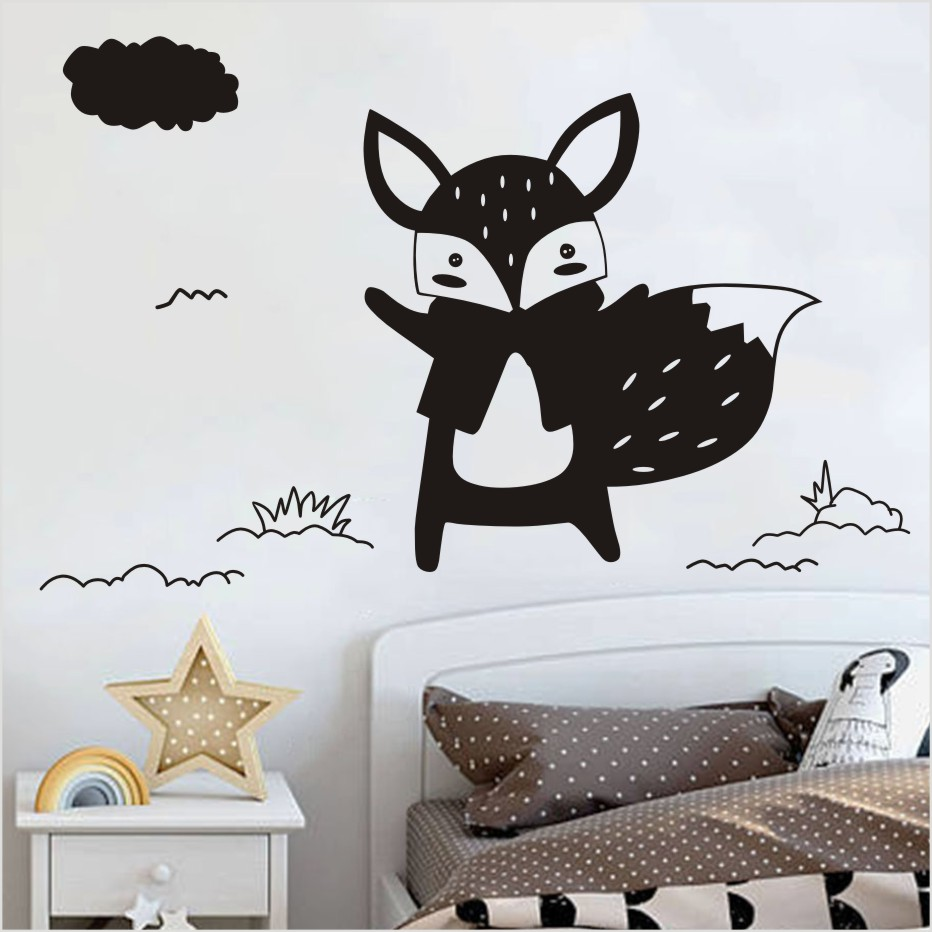 Lovely Black Animals Fox Diy Wall Sticker For Kids Rooms