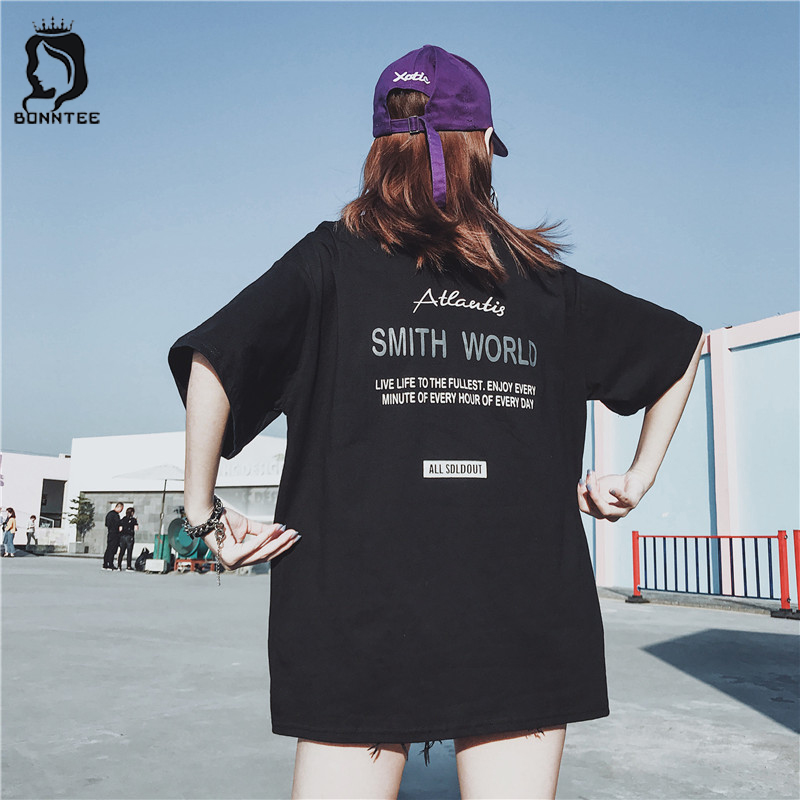 Oversize Women Casual Loose T-shirt Womens Letter Printed Tops Female BF New Style T-shirts Females Harajuku Top Daily Students
