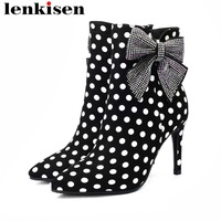 2018 classic butterfly knot big size thin super high heels zipper pointed toe polka dot pointed toe kid suede dating boots L47
