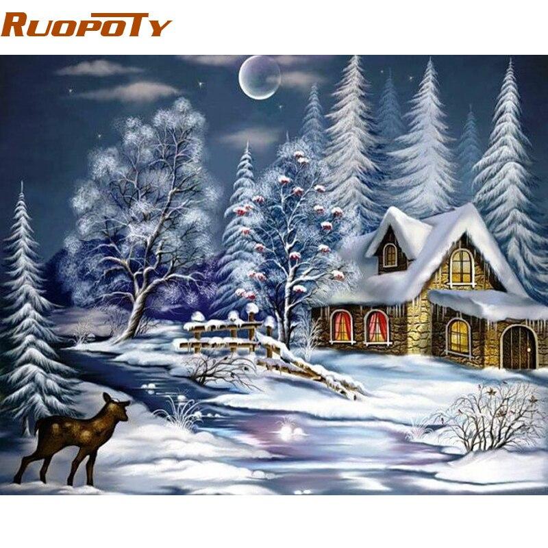 RUOPOTY Rahmen Weihnachten Schnee Nacht DIY Malen Nach Zahlen ...