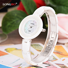Women's Watches LONGBO Luxury Brand Fashion Casual Lady Wrist Watches White Ceramic Strap Watch Relogio Feminino Reloj Mujer luxury white ceramic water resistant classic easy read sports women wrist watch free shipping top quality lady ceramic watches