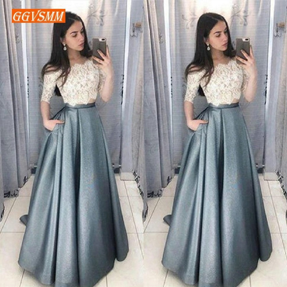 Charming 2 pieces Prom Dresses Long 2019 Sexy Half Sleeve Formal Dress Slim Fit A Line