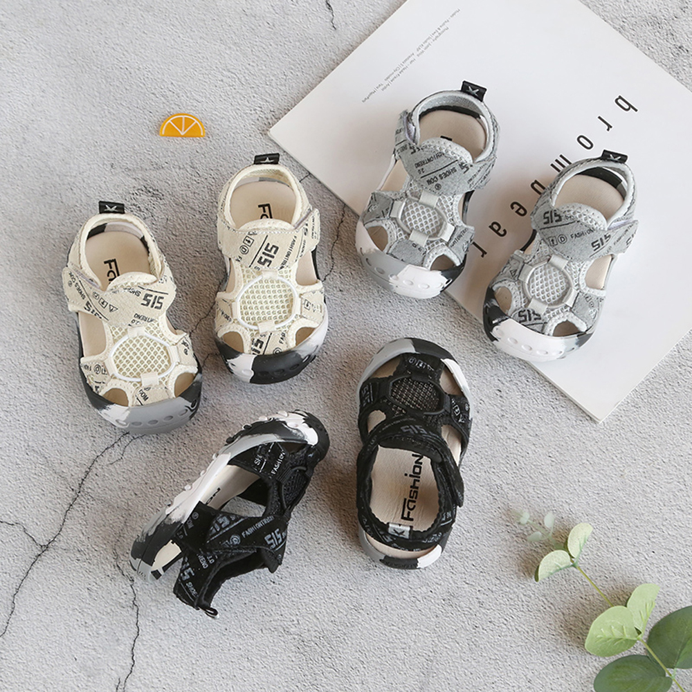 SPONGEMICE 2019 Summer Infant Toddler Shoes Baby Girls Boys Toddler Sandals Non-Slip Breathable Soft Kid Anti-collision Shoes