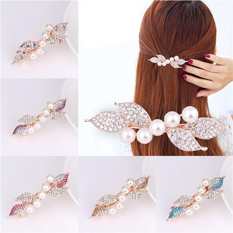 New Korean Women Rhinestone Hair Clip Leaves Hairpins -8195