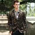 Золотой пром ну вечеринку мужские личность цветочные тонкий тренд британский стиль мужская одежда верхняя одежда мужская одежда костюм