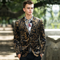 golden prom party Male personality flower slim the trend of the british style men's clothing outerwear men's clothing gold suit