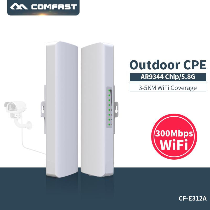 Comfast 300 Mbps 5.8G wireless Wifi Outdoor Long range cpe 2 * 14dbi Antenna wi-fi repeater router di Accesso punto ponte AP CF-E312A