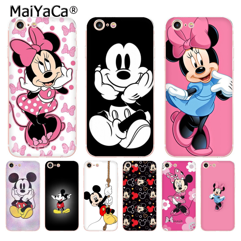 MaiYaCa Minnie Mouse mickey transparent soft tpu phone case cover for iPhone X 6 6s 7 7plus 8 8Plus 4 4S 5 5S 5C case coque