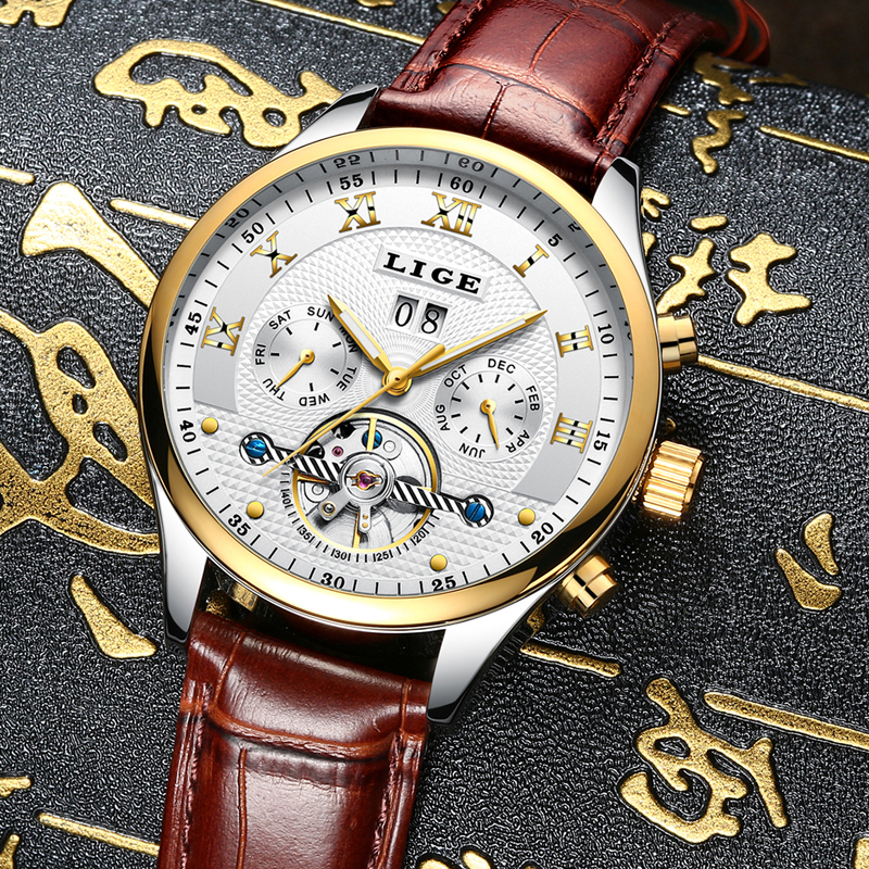 LIGE Fashion Sports Watch Men Business Leather Clock Mens Watches Top Brand Luxury Automatic Mechanical Watch Relogio Masculino