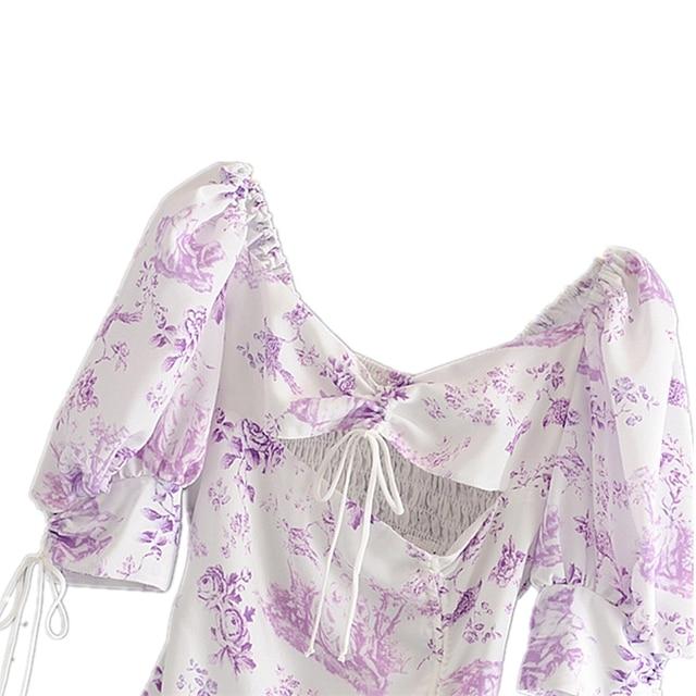 Floral Print Puff Sleeve Dress 3
