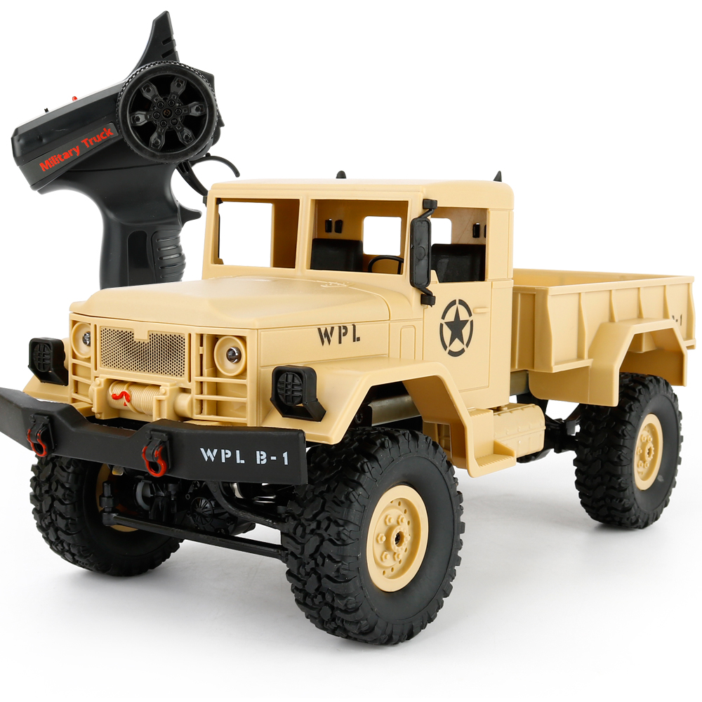 New Arrival WPL B-1 RC Military Truck 1:16 2.4G 4WD Crawler RC Car With Light RTR Toy Mini Off-Road Car Gift For Boy Children