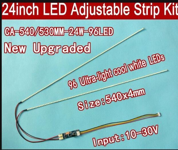 Free shipping 5pcs 24 540mm Adjustable brightness led backlight strip kit,Update 24inch wide LCD CCFL panel to LED backlight