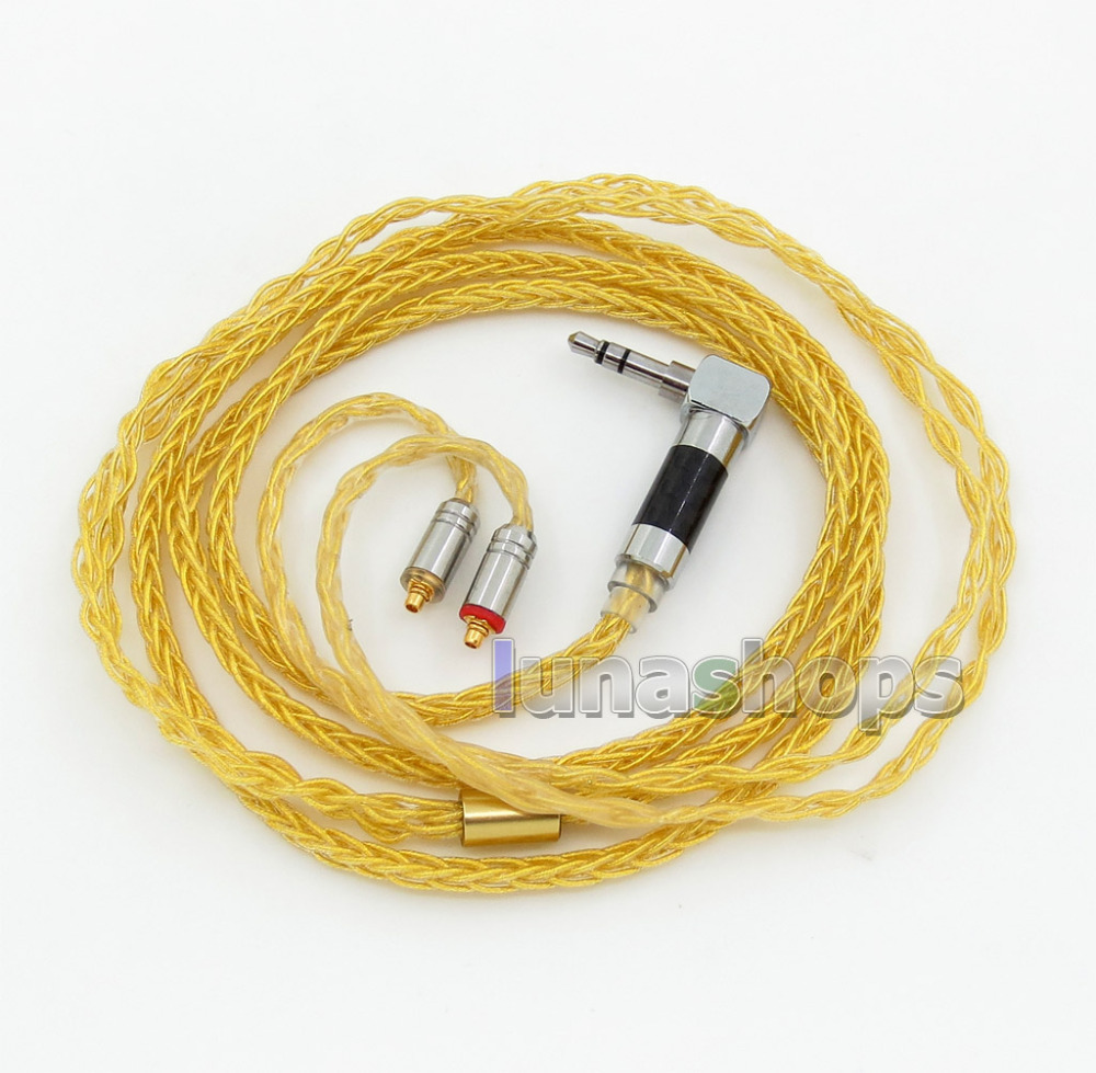 Extremely Soft 8 Cores PVC OCC Golden Plated Earphone Cable For Shure se535 se846 se425 se215 MMCX LN005935 l shape 3 5mm 16 cores occ silver plated mixed headphone cable for shure se215 se315 se425 se535 se846