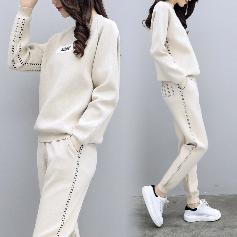 2019 Limited Full O-neck Elastic Waist New Two-piece Suit Fashion Casual Knit Female 2 Piece Outfits For Women Sweat Suits