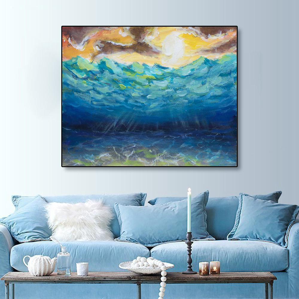 Laeacco Canvas Painting Calligraphy Abstract Watercolor Deep Sea Scene Posters and Prints Wall Art Picture for Living Room Decor in Painting Calligraphy from Home Garden