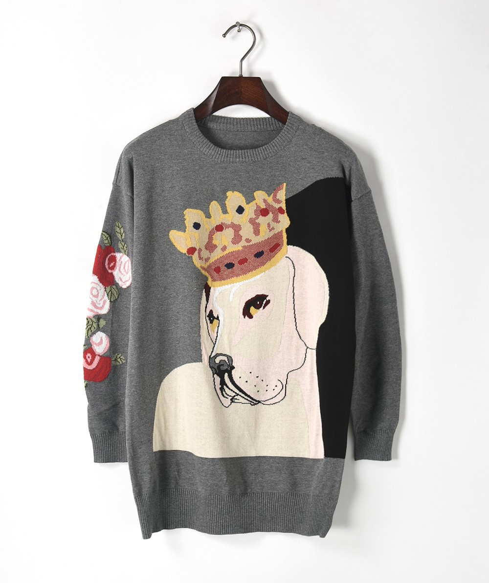 Ky&Q Fashion Design Women Sweaters and Pullovers 2017 Winter harajuku Crown Dog Cool Oversized Knitted Sweater Long Tops Jumper