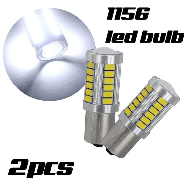 2 個 Led 電球ライセンスプレートライト 1156 ホワイト 33SMD RV キャンピングカーインテリアランプバックアップリバースライト 1141 1073