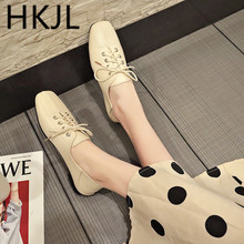 HKJL Fashion Small leather shoes womens lace-up retro square-toe 2019 new spring single A265