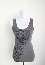 Women Gothic Motorcycle Skull Print Sexy Lace Tank USA Size S,M