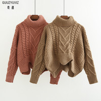 GUUZYUVIZ Winter Woman Sweater Knitting Pullovers Casual Solid Loose Thick Sweters Women Invierno 2018