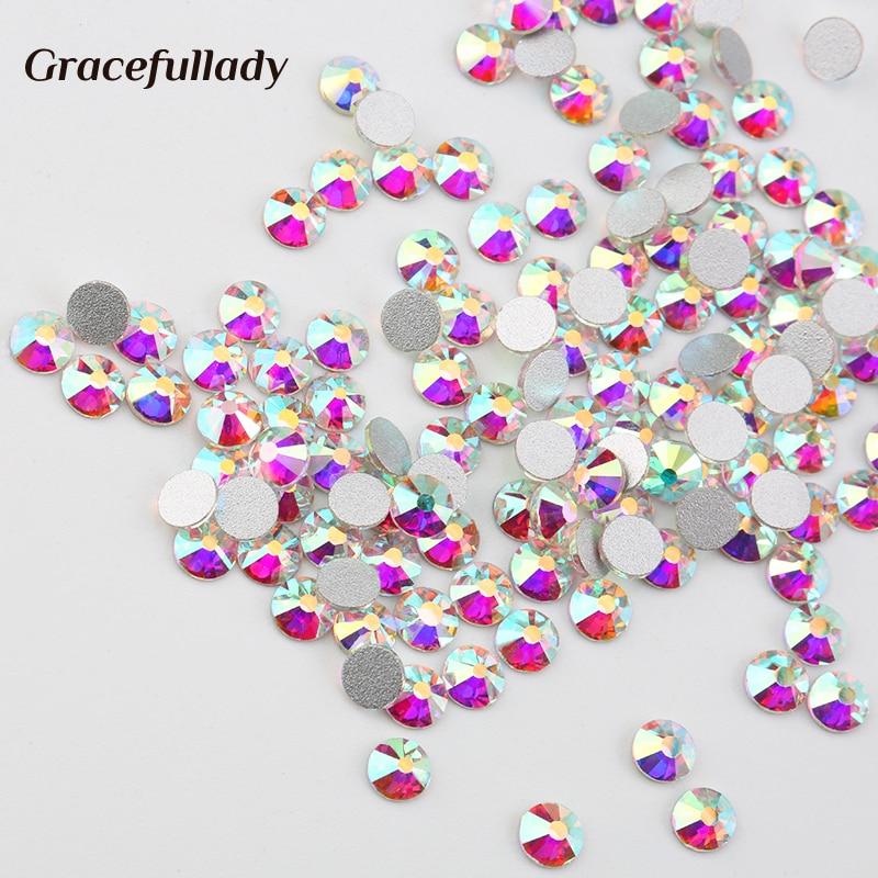 Super Glitter Crystal AB Rhinestone Flat Back Glass Nail Rhi