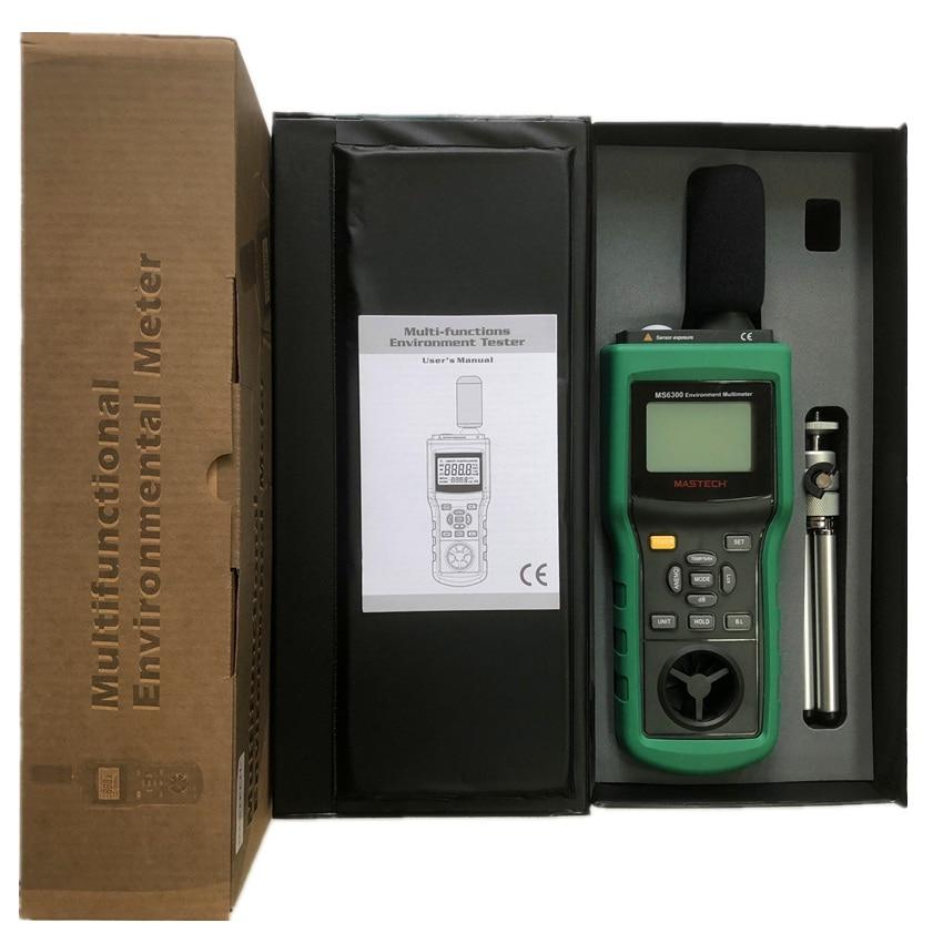 MASTECH MS6300 цифровой многофункциональный, окружающая среда метр Температура влажности уровень звука воздушного потока метр Люксметр Анемометр - 6
