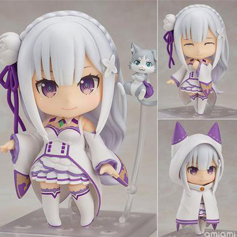 Emilia Re Zero Q Version Action Figure Re:life In A Different World From Zero Toy Japanese Anime Figures Action Model Collection re life in a different world from zero maid ram with mop on the floor pvc figure collectible model toy 22cm kt4218