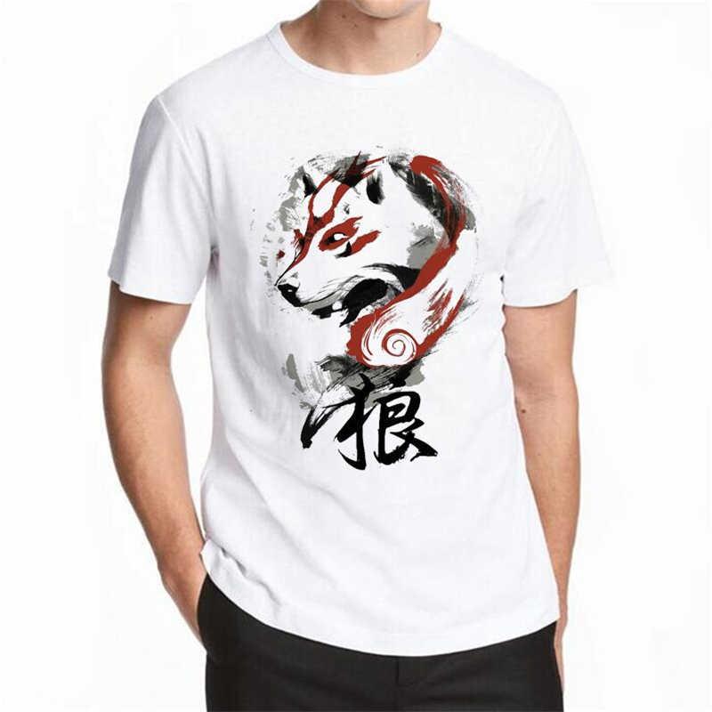 2018ハウリング男性tシャツ半袖カジュアルトップスヒップスター水彩ウルフプリントtシャツ男性ファッションtシャツ面白いtシャツ