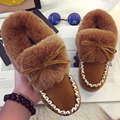 FACE FORCE New Winter Woman Snow Faux Fur Moccasins Flats Driving Loafer 2017 women Plush Inside Warm Boat Shoes Free Shipping