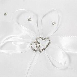 Image 3 - 5 יח\סט חתונה קישוט אביזרי כפול לב סאטן ילדה פרח סל 7x7 נושא טבעת כרית ספר אורחים עט בעל