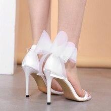 Liren New Elegant Design Women Big Butterfly Knot Buckle Thin High Heels Solid Color Open Toe Stiletto Dress Sandals Size 35-40