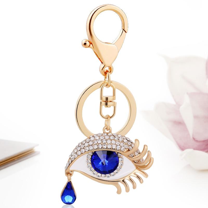 2017 Evil Eye Crystal Key Chains Key Rings Holder for Women Rhinestone Purse Bag Buckle Pendant