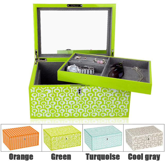 Wooden Jewel box Piano finish wood jewelry storage case and watch box HIGH END quality with Fishion pattern