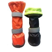 Собаки Веллингтон Загрузки 100% Водонепроницаемый обувь для собак с резиновой подошвой зима снег сапоги Герметизация ботфорты дождь Флис обувь