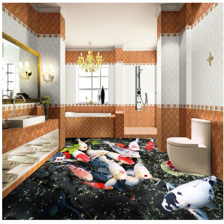 ФОТО Free Shipping 3D stereo custom carp pond flooring wallpaper painting decorating bedroom restaurant floor PVC mural