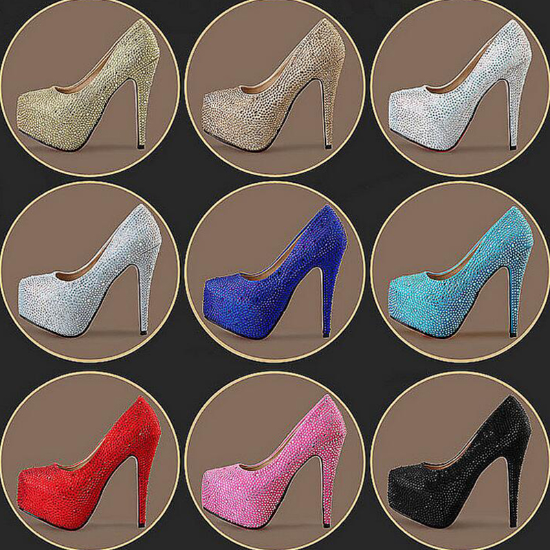 New Womens wedding shoes Round toe High heels Party dress shoe Female Ladies shoes High Pumps