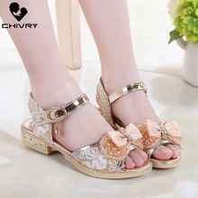 Chivry 2019 New Summer Children Girls Sandals Bowknot Beads Princess Shoes Kids High Heel Crystal Banquaet