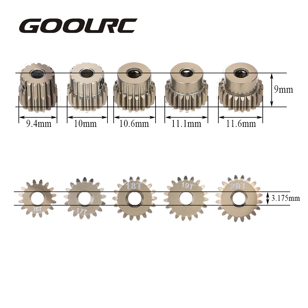 GOOLRC 48DP 3.175mm 16T 17T 18T 19T 20T Pinion Motor Gear for 1/10 RC Car Brushed Brushless Motor Car P goolrc 48dp 3 175mm 16t 17t 18t 19t 20t pinion motor gear for 1 10 rc car brushed brushless motor car p