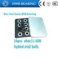 2017 New 16pcs Lot Swiss BSB 608 8X22X7mm ABEC11 Hybird Zro2 6 Balls Skateboard Well Bearing