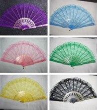 1200pcs/lot  wedding lace fan,white lace hand fan,dance accessories gift favor different color H124