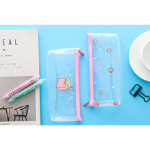 1Pcs/lotLovely Simple Fruit Transparent  Pencil Bag Large Zipper Case Stationery Material Office School Supplies